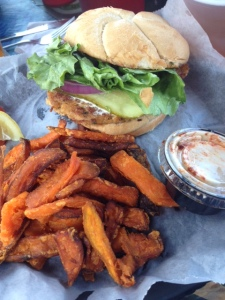 Crab Cake Sandwich and Sweet Potato Fries